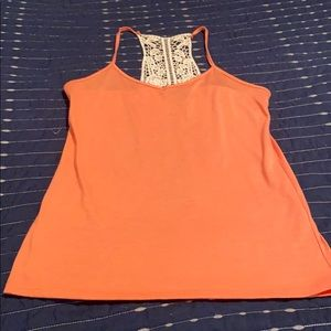 Coral tank top with lace.